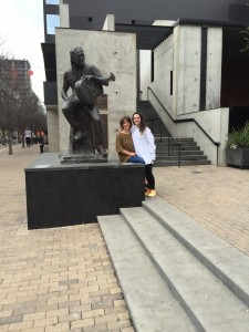 My mom and I visiting the Willie Nelson statue